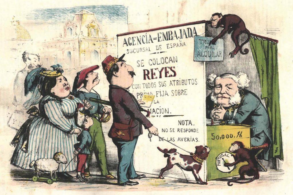La búsueda de un monarca. Revista satírica La Flaca. 10 de julio de 1869 -